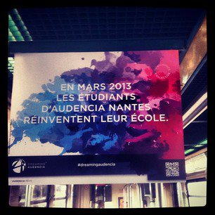 "A ""Dreaming Audencia"" teasing poster in Nantes tramway"