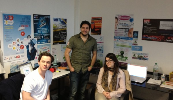 Yohann Melamed (center) with two colleagues, in their Paris office
