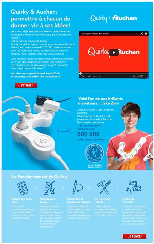 La page dédiée au lancement de fr.quirky.com sur le site d'Auchan