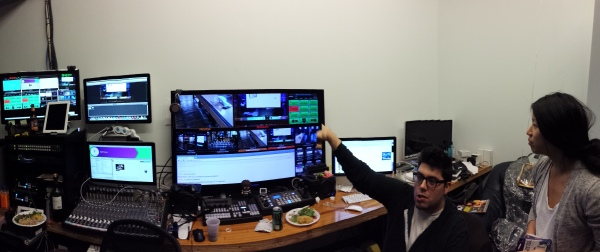 The media control room of Quirky (sorry for cutting your head, Nathan)