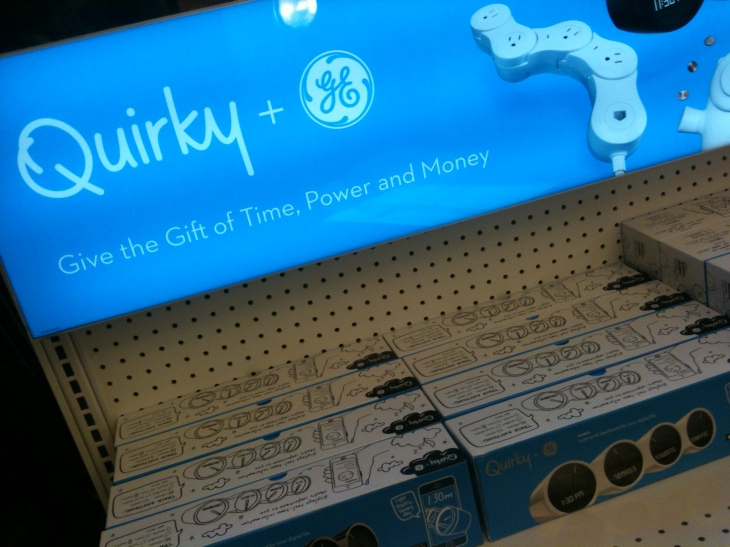 The app-enabled Pivot Power on the shelf (even though Quirky didn't sell at their office in Chelsea)