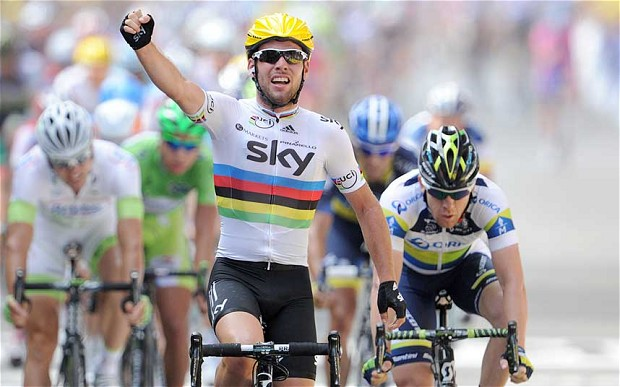 In 2012, Mark Cavendish won his first Tour de France stage as world champion.