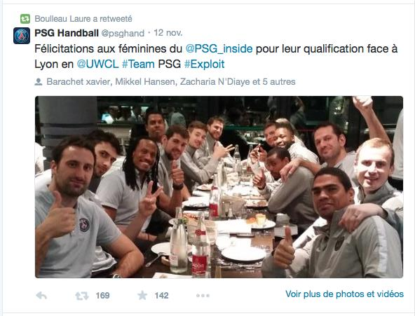 tweet psg handball