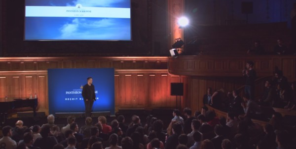 Elon Musk at center stage (Richelieu amphitheatre), taking questions from the audience