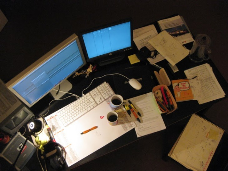 Long working hours... Damien's desk